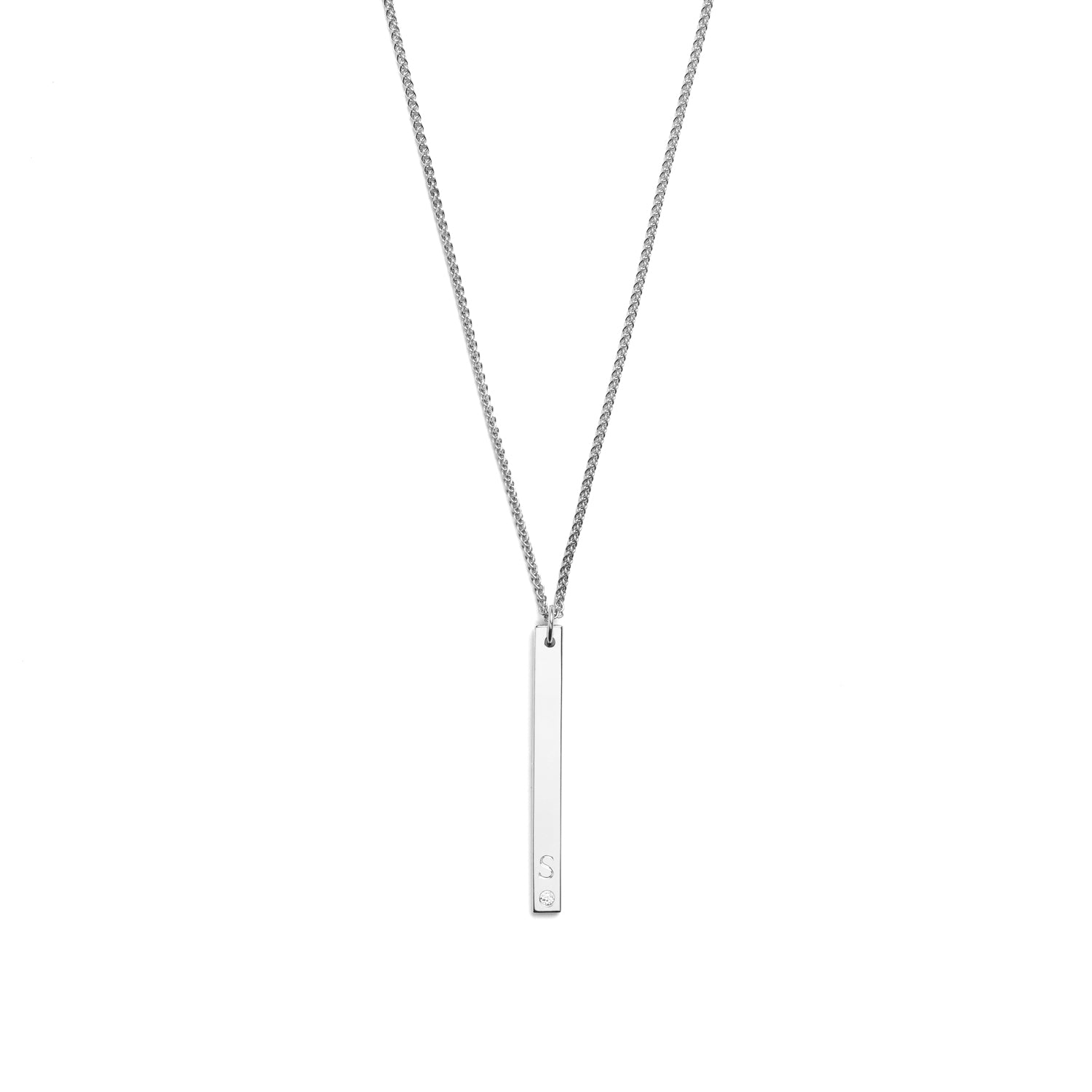 Selin Kent 14K Gaia Vertical Necklace with One White Diamond