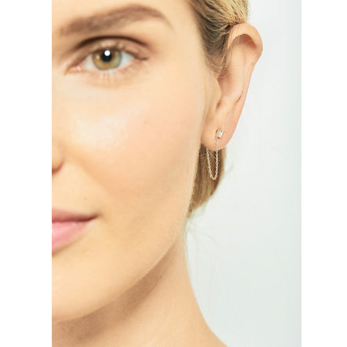 Selin Kent 14K Gaia Stud Chain with White Diamond Baguette - On Model