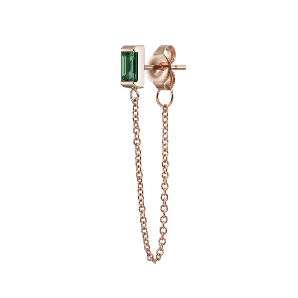 Selin Kent 14K Galana Chain Stud with Emerald Baguette