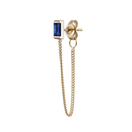 Selin Kent 14K Galana Chain Stud with Sapphire Baguette