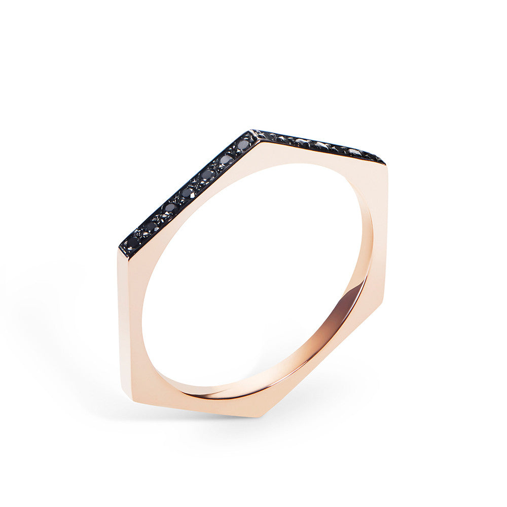 Selin Kent 14K Hex Ring with Black Diamonds