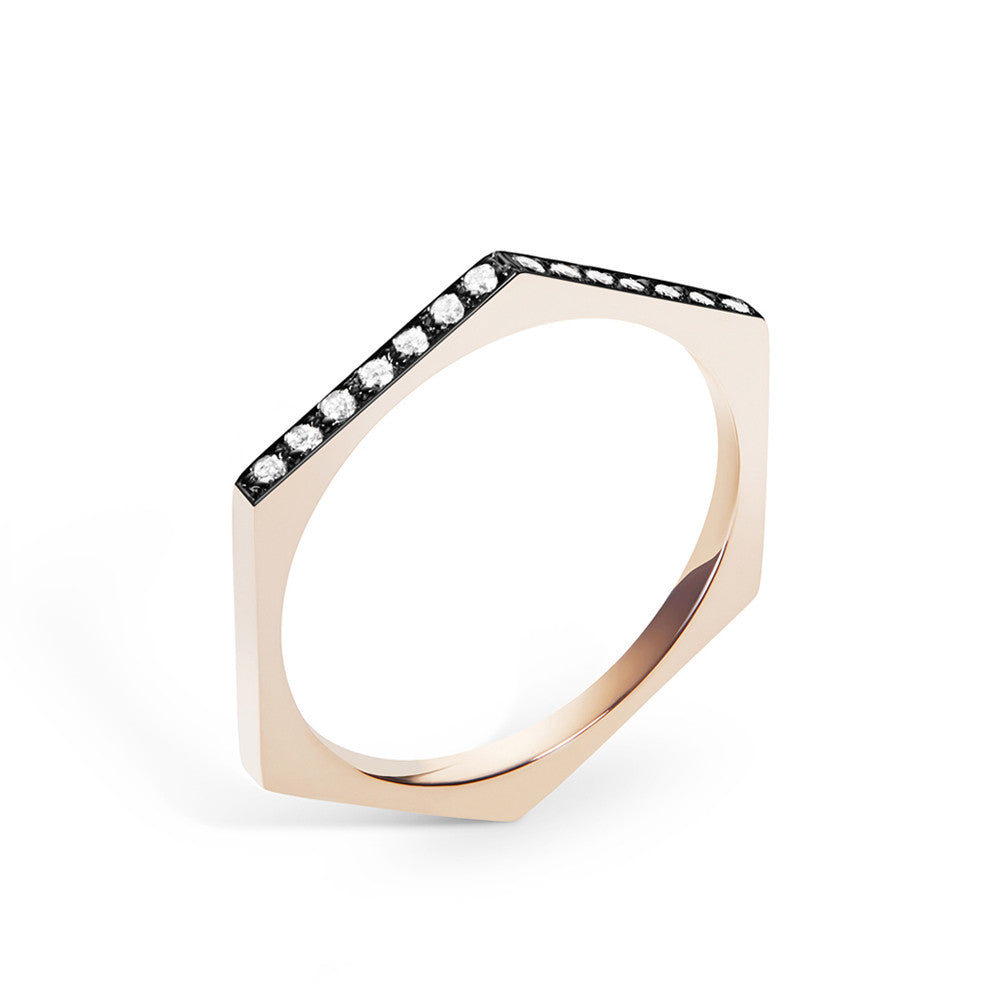 Selin Kent 14K Hex Ring with White Diamonds