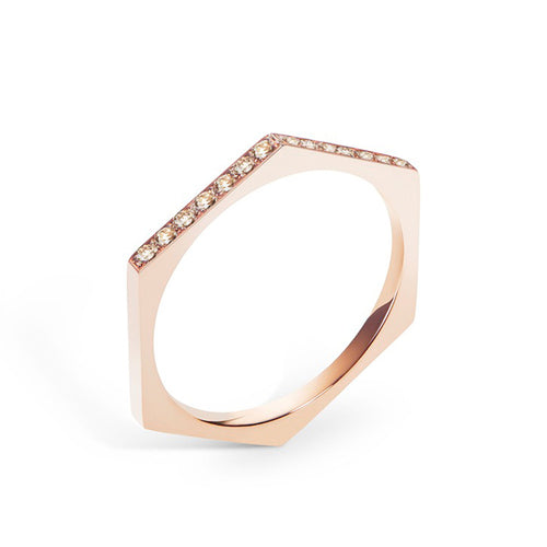 Selin Kent 14K Hex Ring with Champagne Diamonds