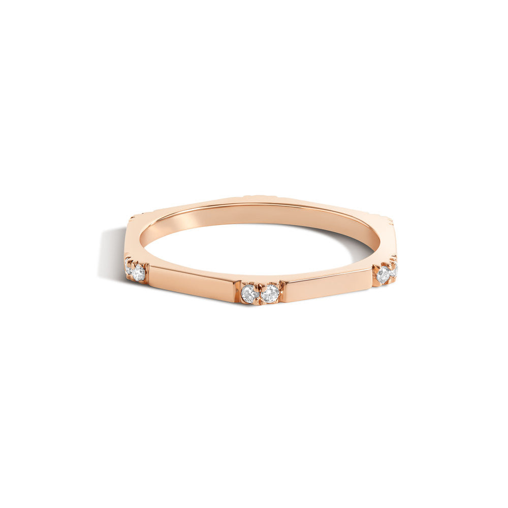 Selin Kent 14K Hex Ring II with White Diamonds
