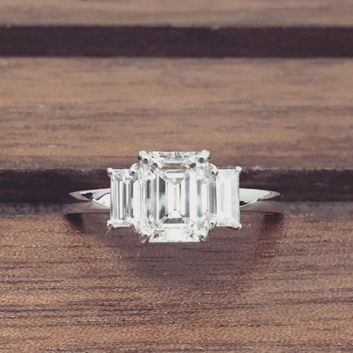 Emerald Cut Diamond Engagement Ring with Baguette Side Stones