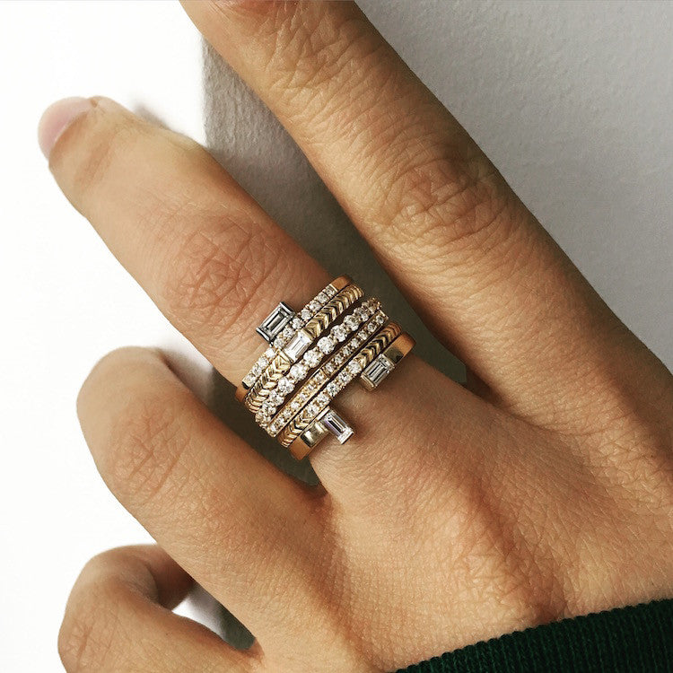 Selin Kent 14K Razia Ring with White Diamond Baguette and Pavé White Diamonds - On Model