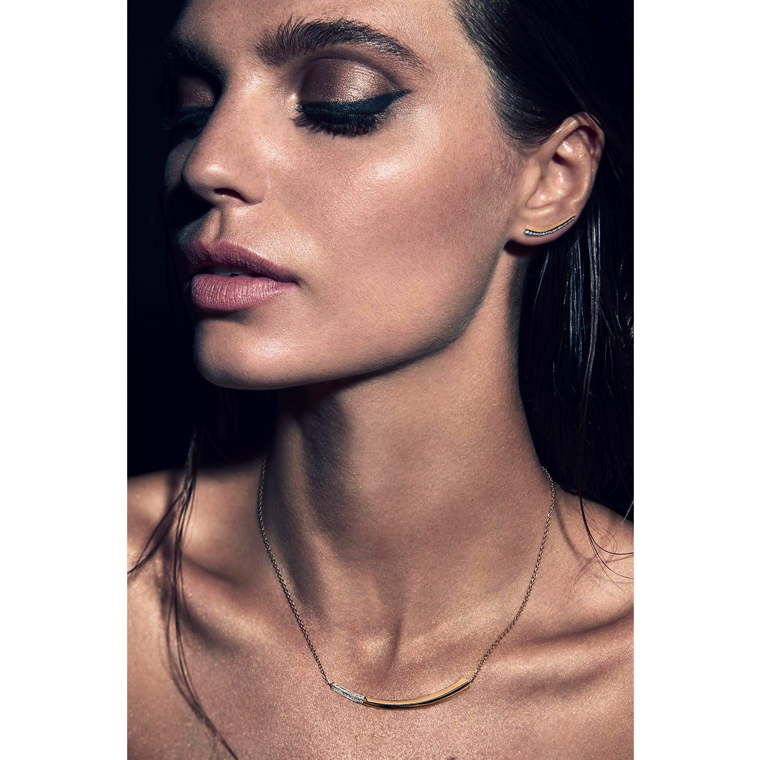 Selin Kent 14K Lana Necklace with White Diamonds - On Model