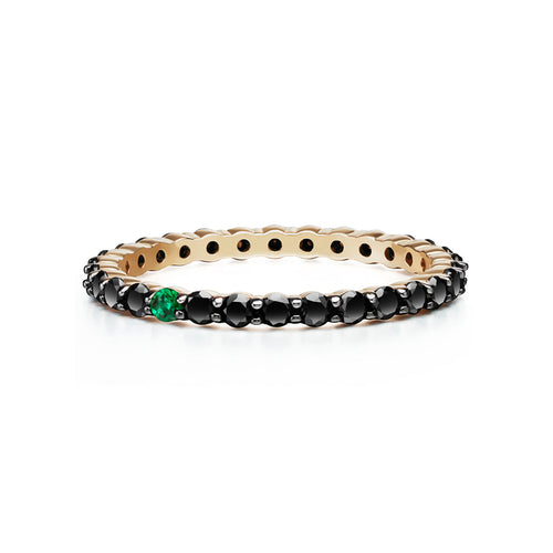 Selin Kent 14K Lara Ring with One Emerald and Black Diamonds