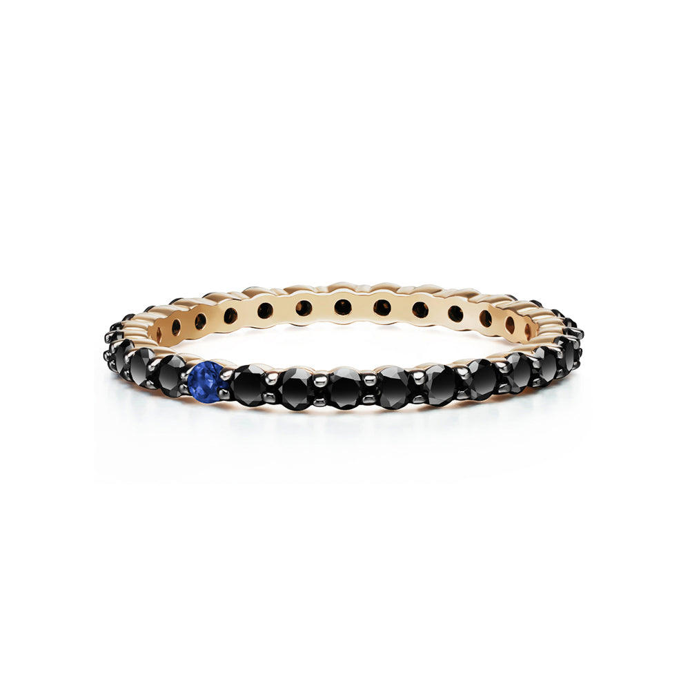 Selin Kent 14K Lara Ring with One Sapphire and Black Diamonds
