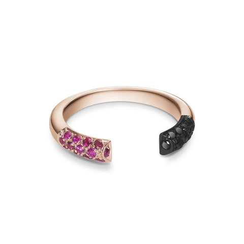 Defne Pavé Ring | Ruby with Black Diamonds