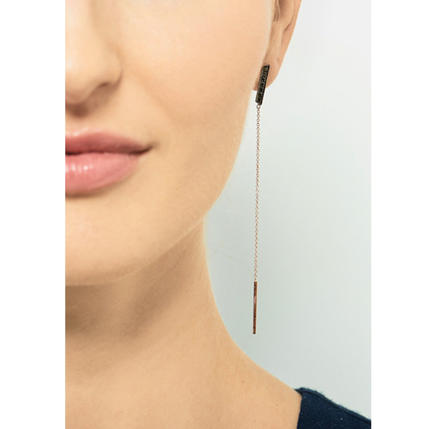 Selin Kent 14K Marlene Earrings with Rubies and Black Diamonds - On Model