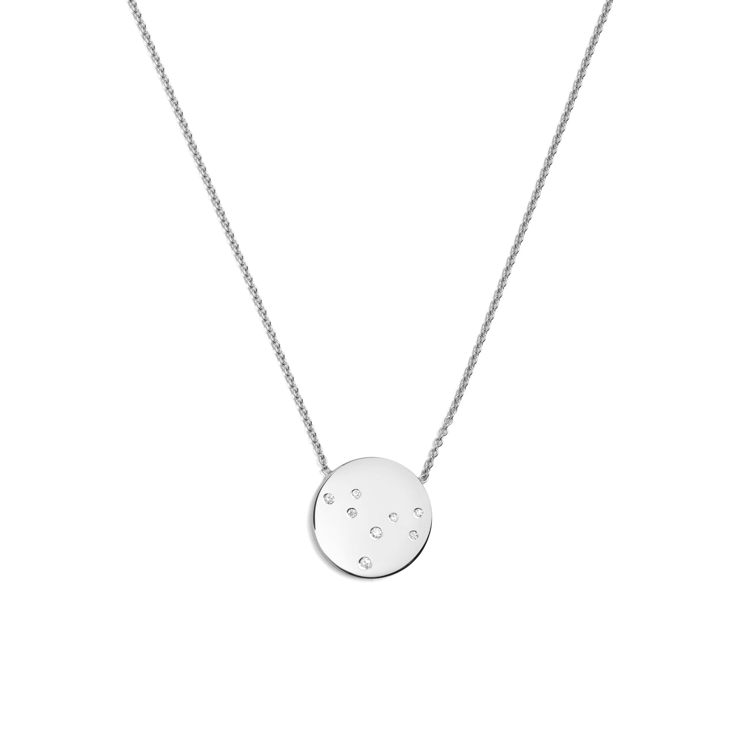 Star Sign Necklace in White Gold