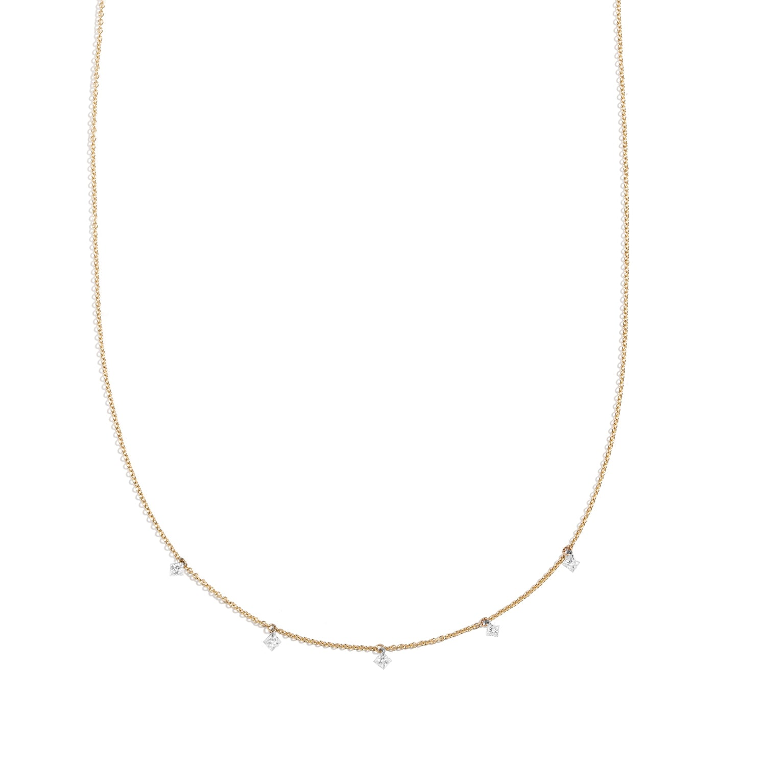 Nuwa Necklace ~ Floating Princess Cut Diamond Necklace