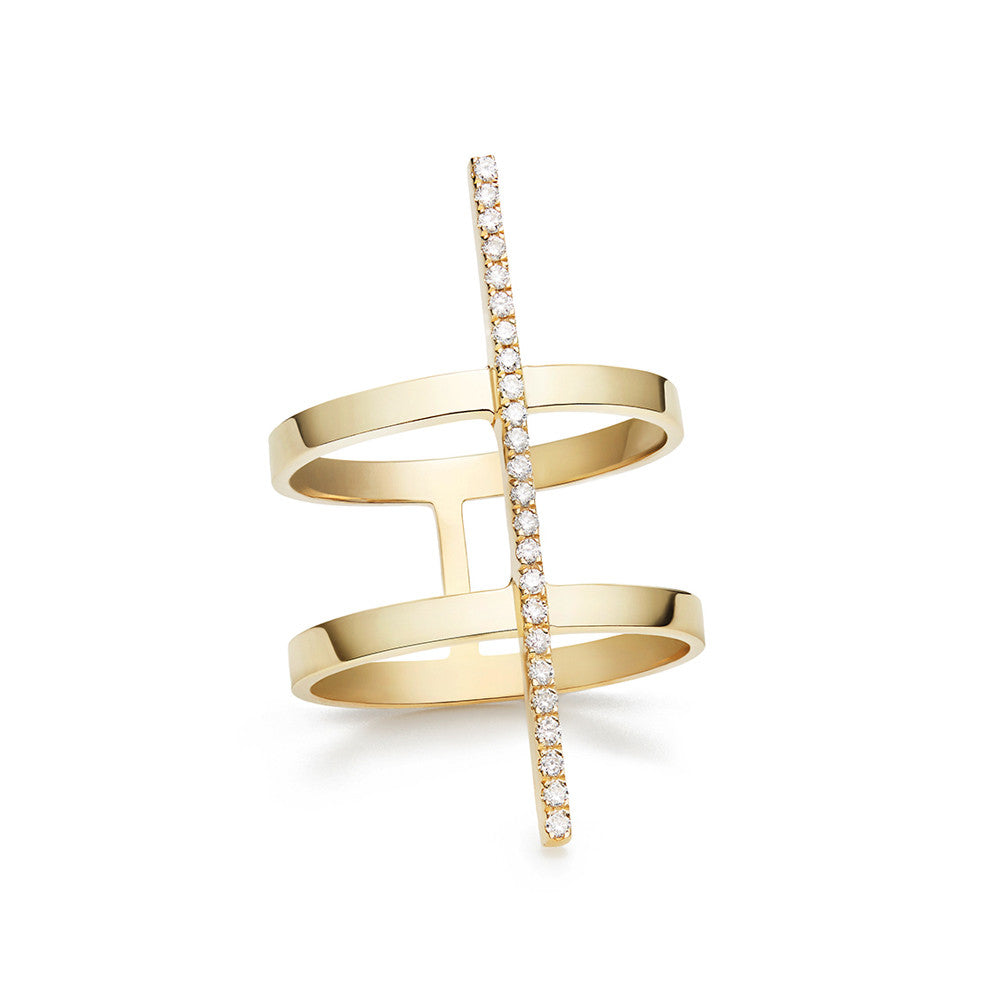 Selin Kent 14K Nico Ring with Pavé White Diamonds