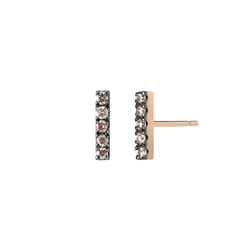 Selin Kent 14K Night Sky Bar Studs with Pink Diamond, Grey Diamonds, and White Diamonds