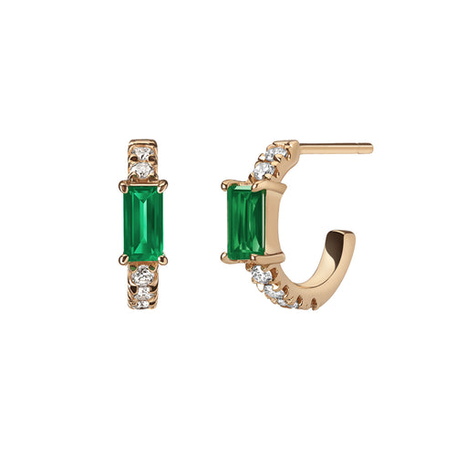 Selin Kent 14K Nikita Huggie Hoops with White Diamonds and Two Emerald Baguettes