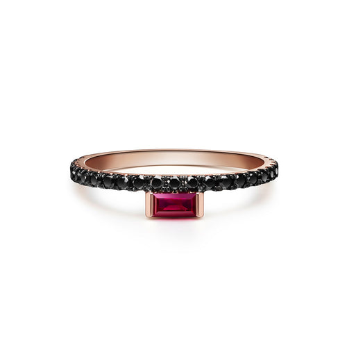 Selin Kent 14K Nikita Ring with Ruby Baguette and Black Diamonds