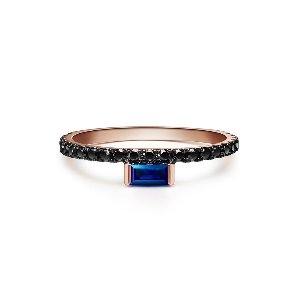 Selin Kent 14K Nikita Ring with Sapphire Baguette and Black Diamonds