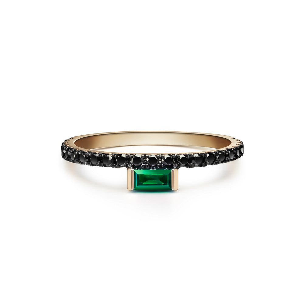Selin Kent 14K Nikita Ring with Emerald Baguette and Black Diamonds