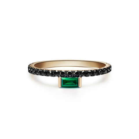 Defne Pavé Ring | Emerald Marquise and White Diamonds