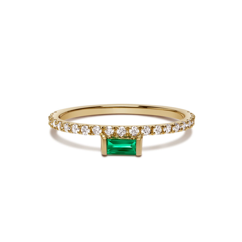 Nikita Ring - White Diamonds with Emerald