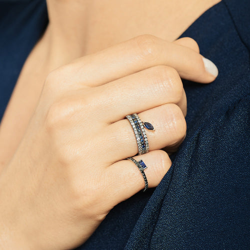 Selin Kent 14K Defne Pavé Ring with Sapphire Marquise and Grey Diamonds - On Model