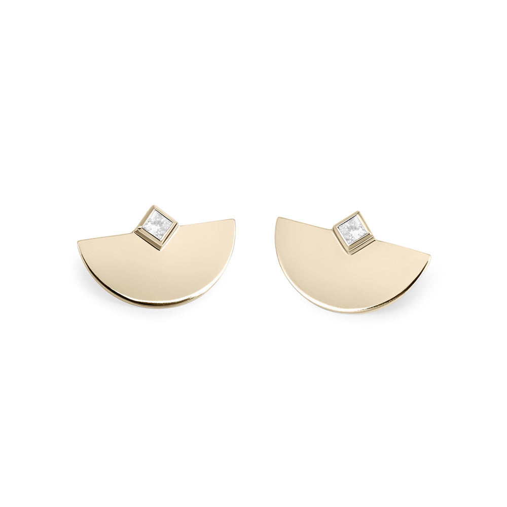 Selin Kent 14K Nina Princess Cut Studs with White Diamonds