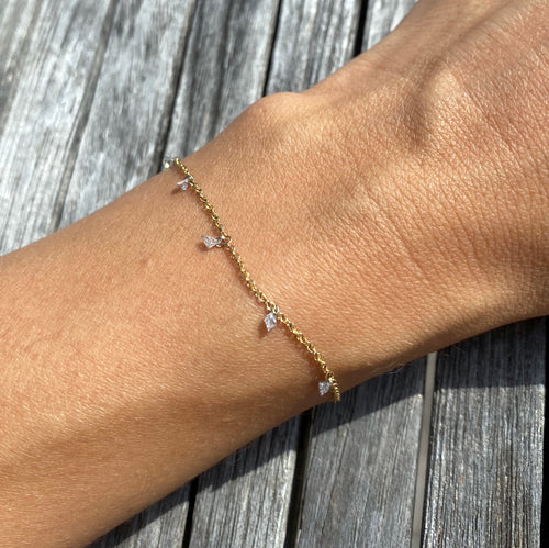 Nuwa Bracelet ~ Floating Princess Cut Diamond Bracelet