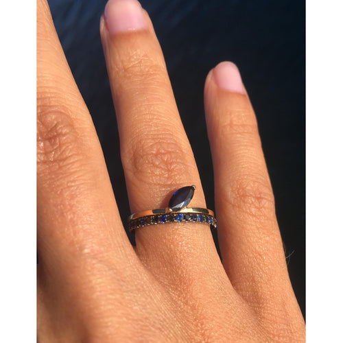 Selin Kent 14K Ocean Blue Eternity Band with Sapphires and Black Diamonds - On Model