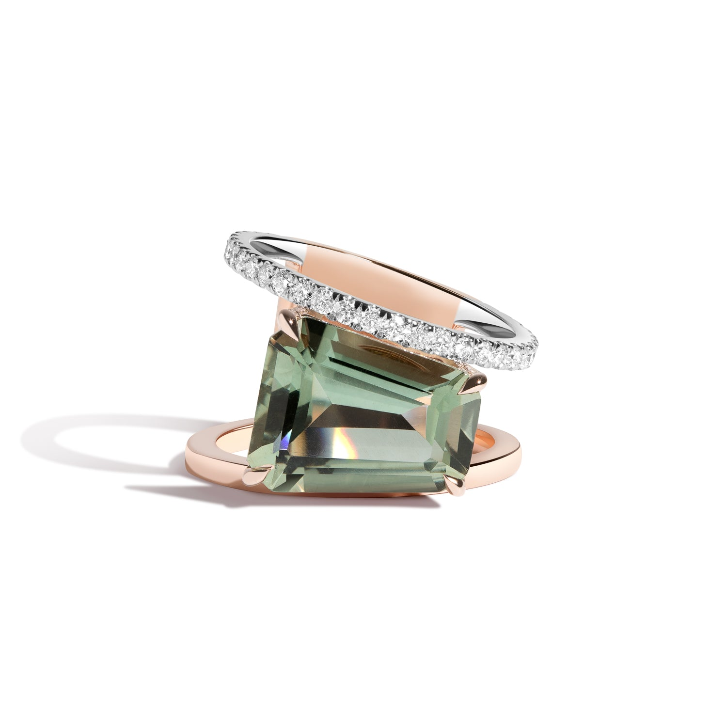 Prasiolite & White Diamond PERA Ring