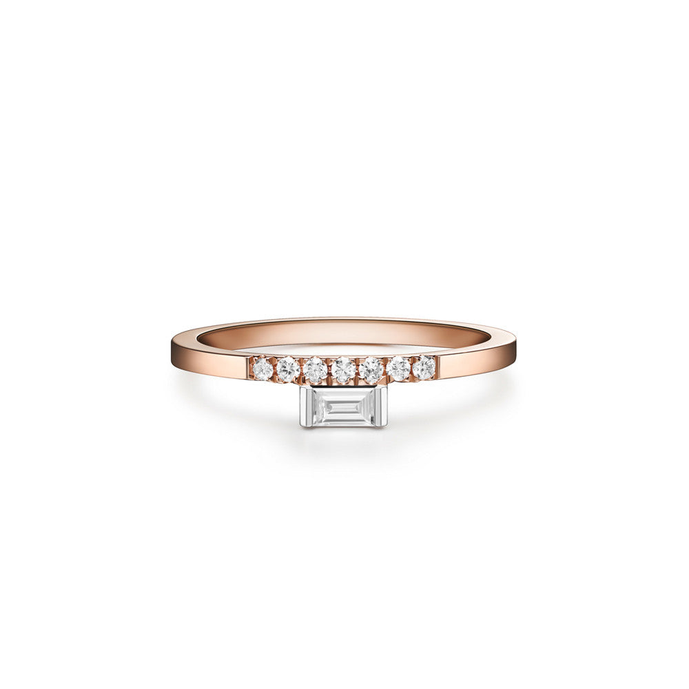 Selin Kent 14K Razia Mini Ring with White Diamond Baguette and Pavé White Diamonds