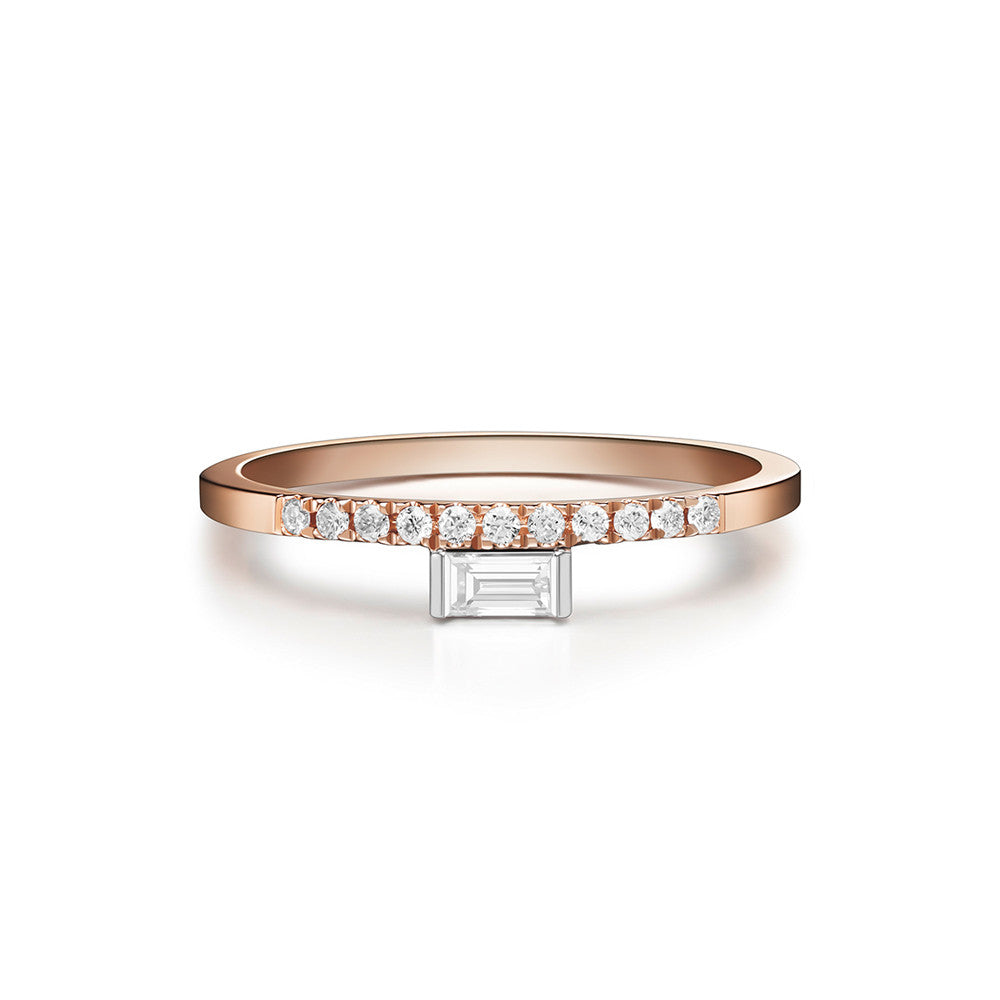 Selin Kent 14K Razia Ring with White Diamond Baguette and Pavé White Diamonds