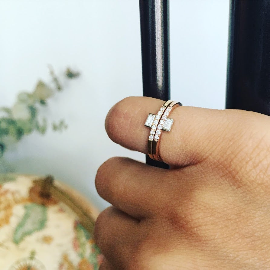 Selin Kent 14K Razia Mini Ring with White Diamond Baguette and Pavé White Diamonds - On Model
