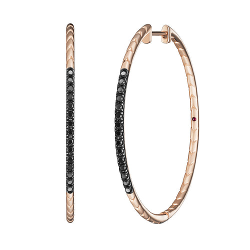 Selin Kent 14K Rhea Hoops with Black Diamonds and Ruby