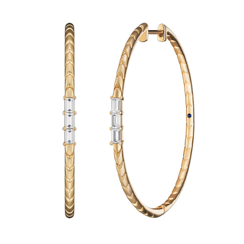 Selin Kent 14K Rhea Hoops with White Diamond Baguettes