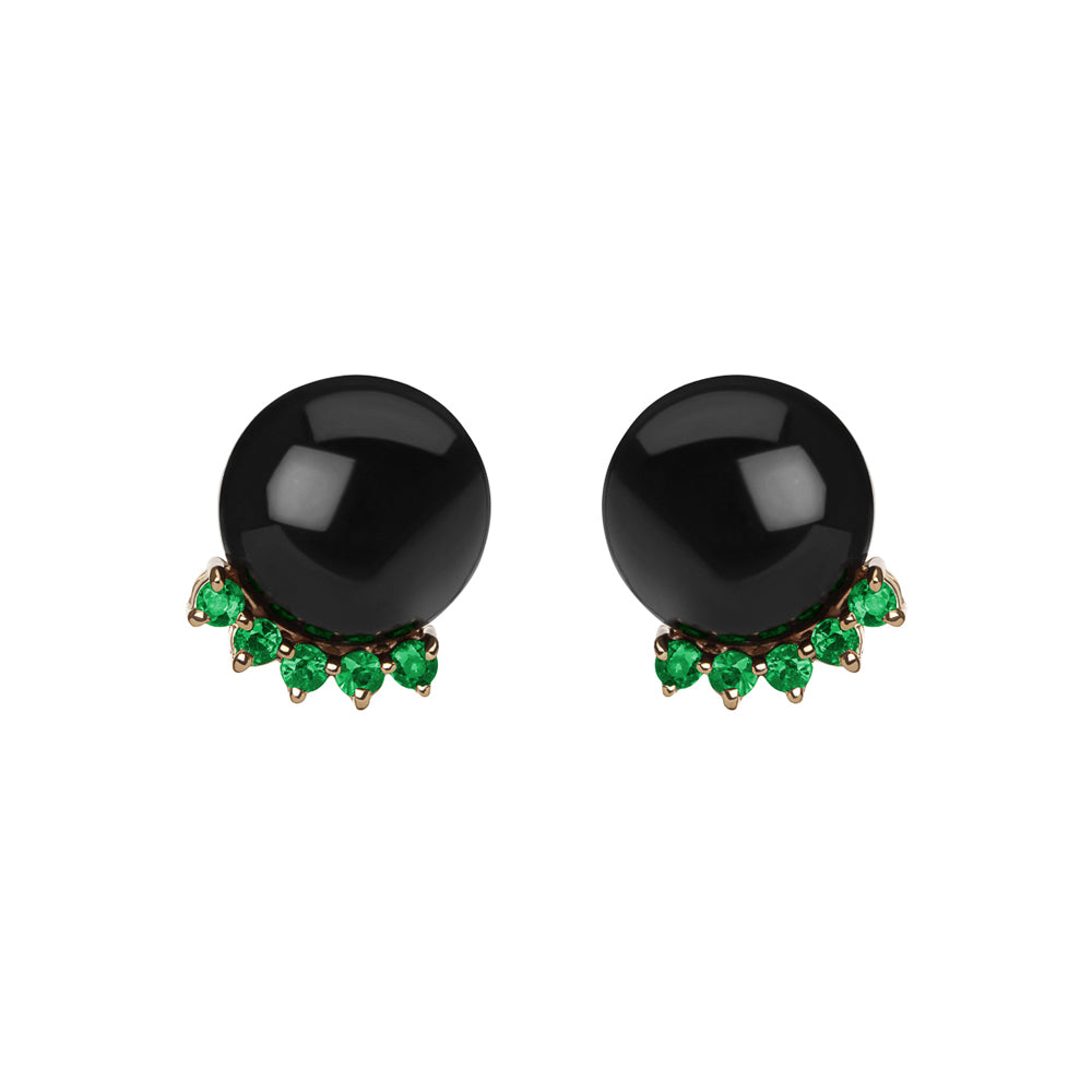 Selin Kent 14K Rosa Earrings with Black Jade and Four Emeralds