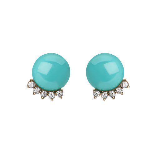 Selin Kent 14K Rosa Earrings with Button Turquoise and Four White Diamonds