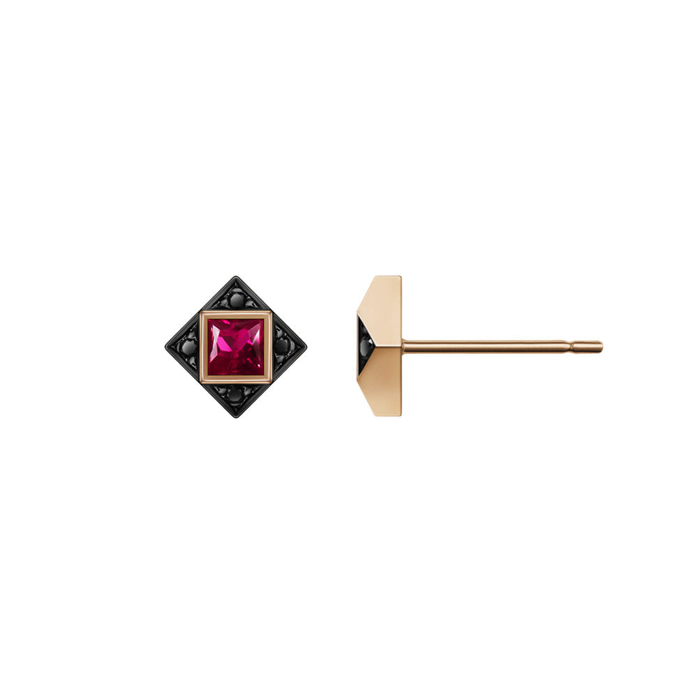 Selin Kent 14K Sabina Earrings with Princess Cut Rubies and Black Diamonds