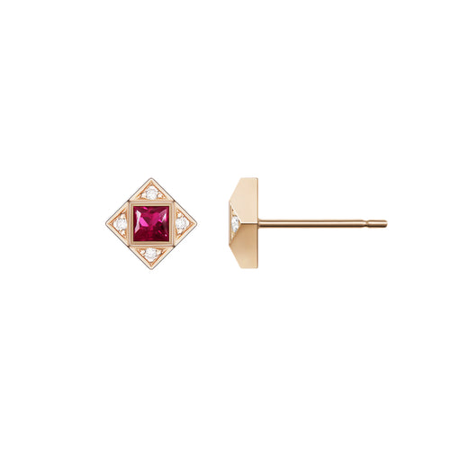 Selin Kent 14K Sabina Earrings with White Diamonds and Princess Cut Rubies
