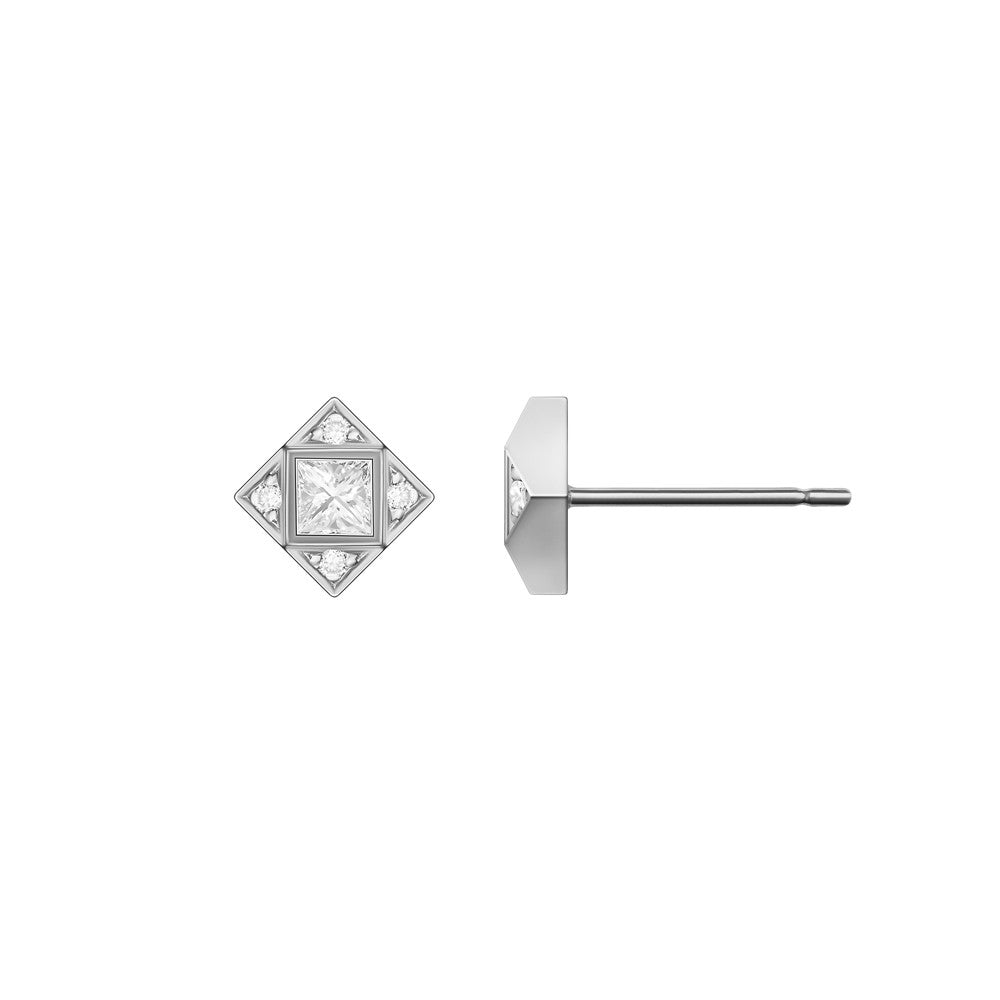 Selin Kent 14K Sabina Earrings with Princess Cut White Diamond
