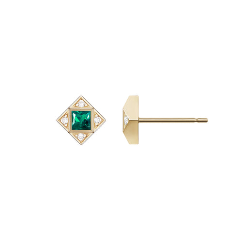 Selin Kent 14K Sabina Earrings with White Diamonds and Princess Cut Emeralds