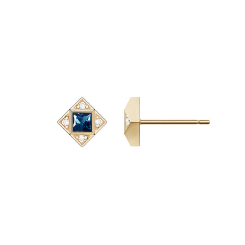 Selin Kent 14K Sabina Earrings with White Diamonds and Princess Cut Sapphires