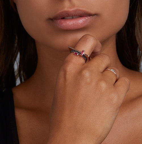 Selin Kent 14K Galana Ring with Ruby Baguette - On Model