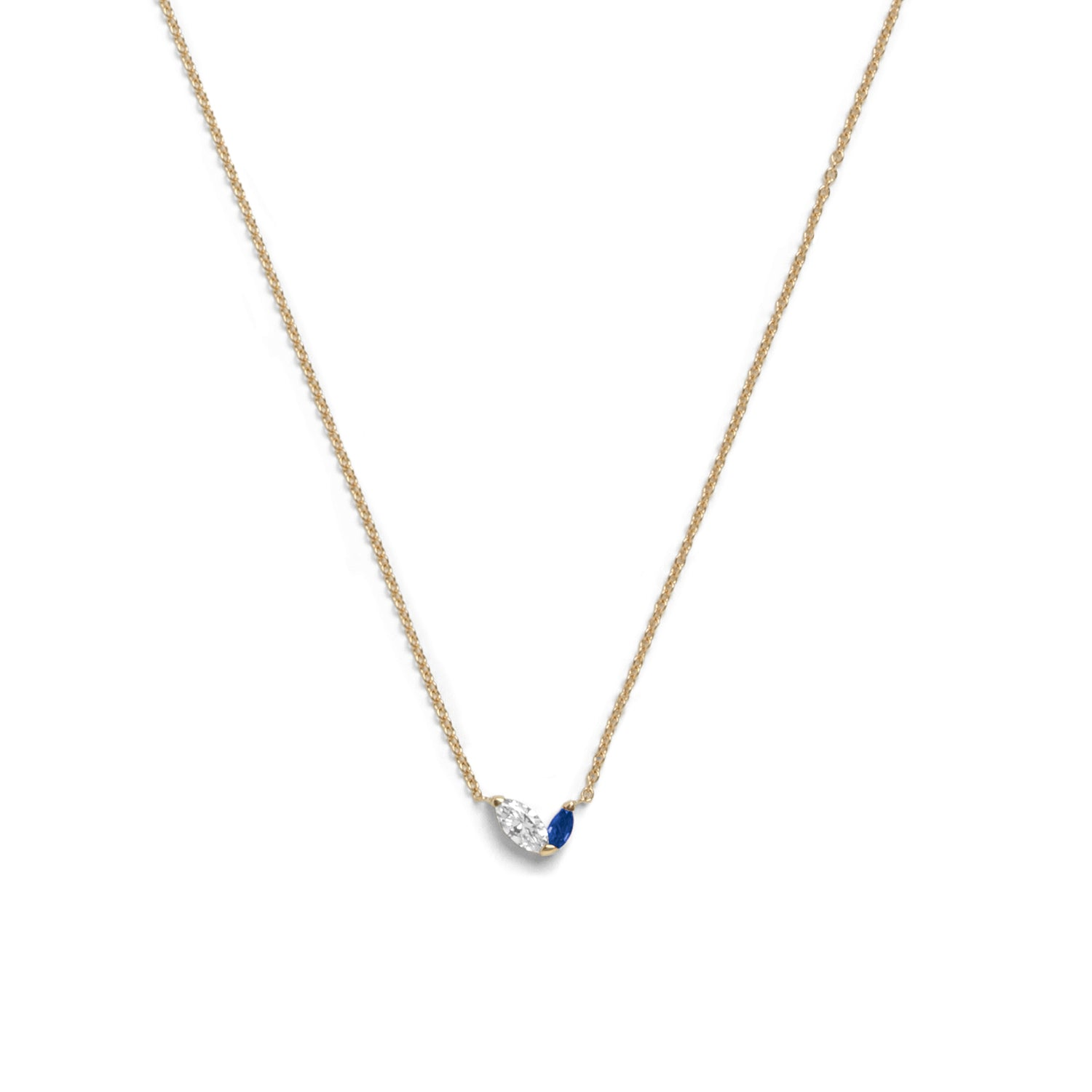 sapphire in necklace yellow slice gold