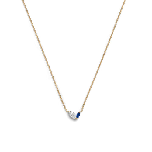 Selin Kent 14K Defne Necklace with Offset Marquise White Diamond and Offset Marquise Sapphire