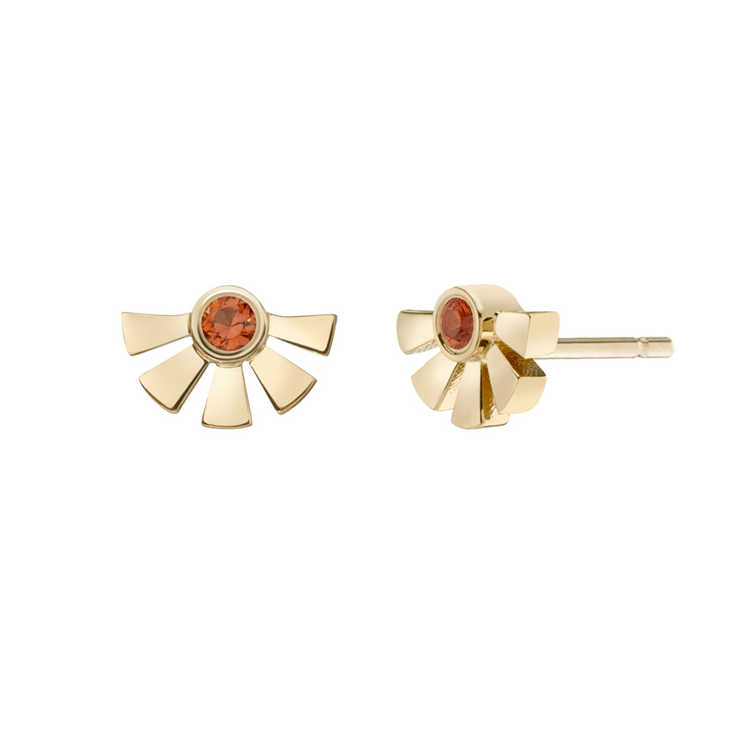 Helia Studs - Single Orange Sapphire