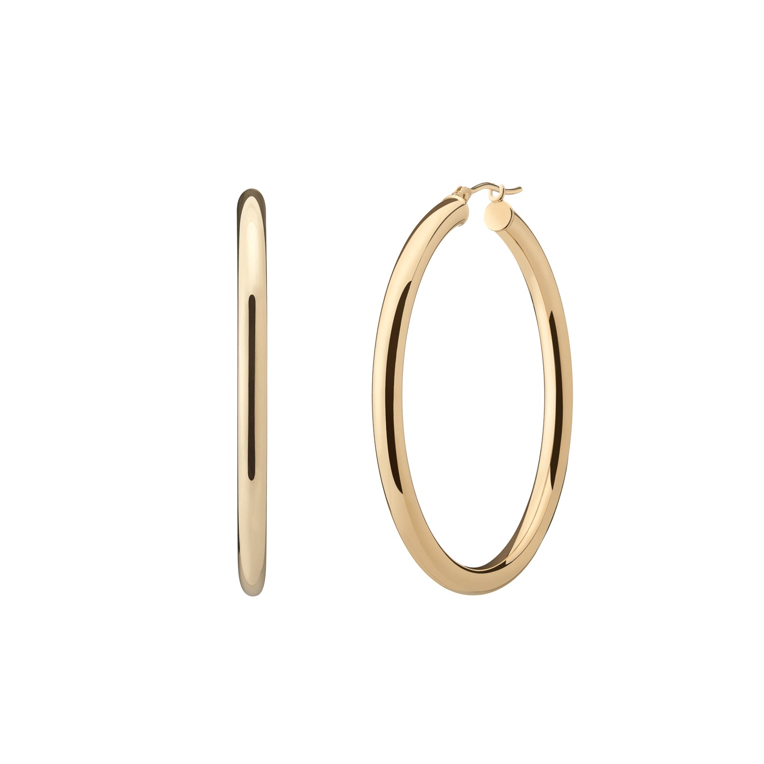Perfect classic 14k yellow gold hollow hoops 1.5'' diameter