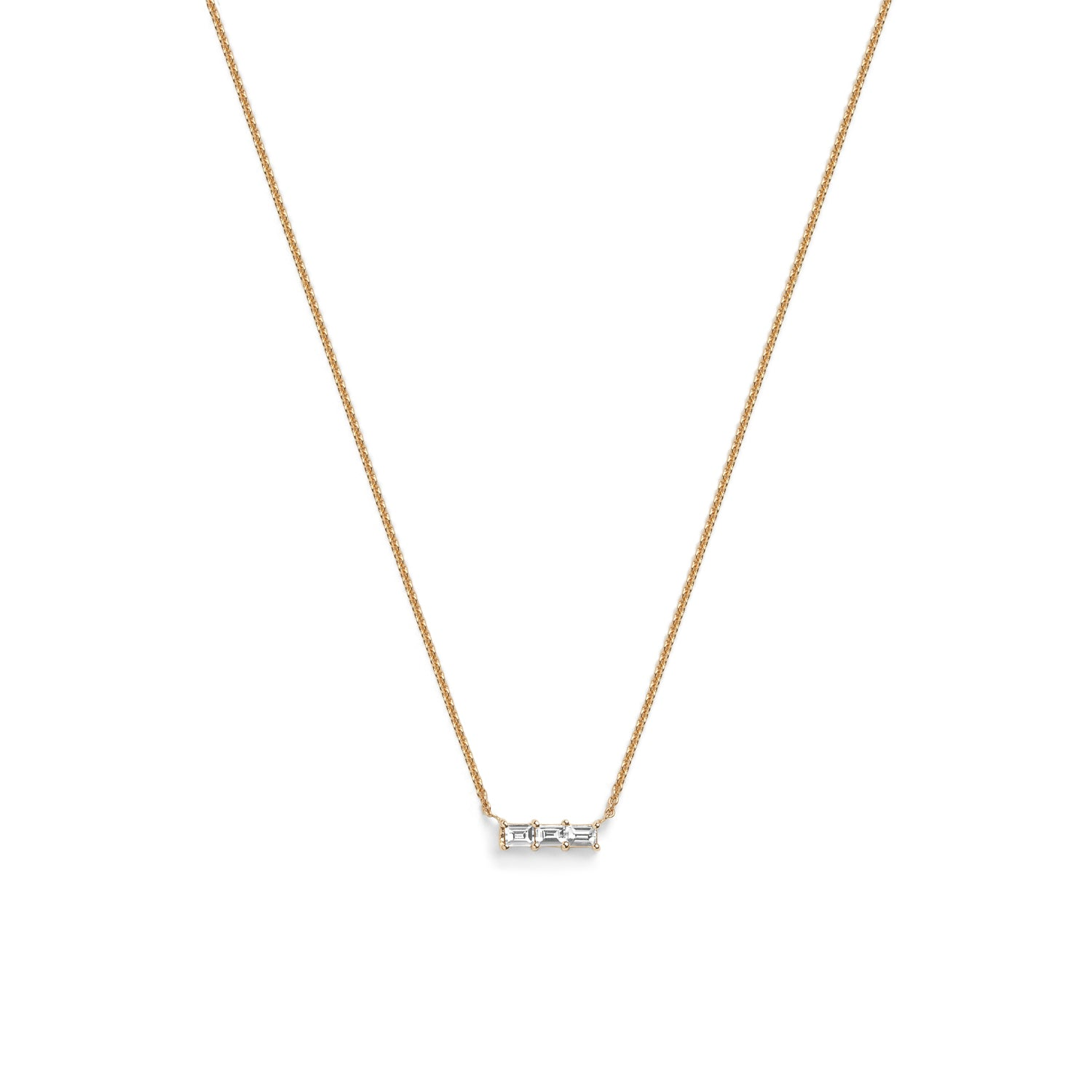 Selin Kent 14K Rhea Necklace with Three White Diamond Baguettes
