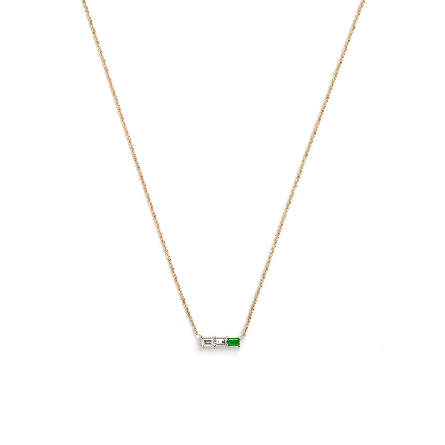 Selin Kent 14K Rhea Necklace with Two White Diamond Baguettes and One Emerald Baguette