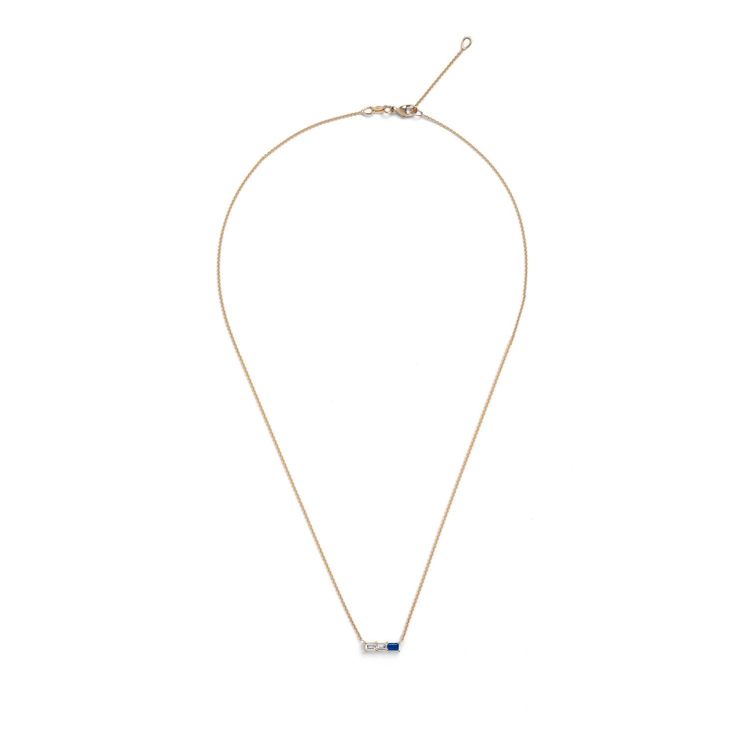Selin Kent 14K Rhea Necklace with Two White Diamond Baguettes and One Sapphire Baguette